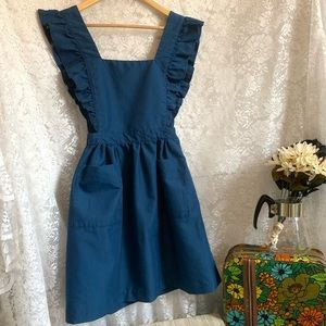 Vtg Ruffle Navy Pinafore Dress
